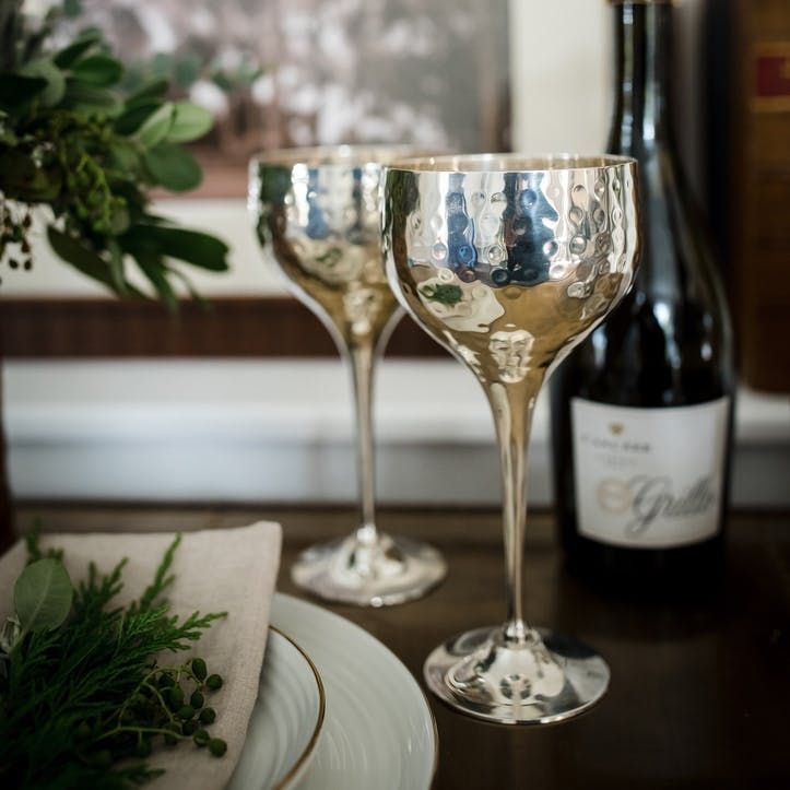 Pair Of Silver Plated Hammered Wine Goblets