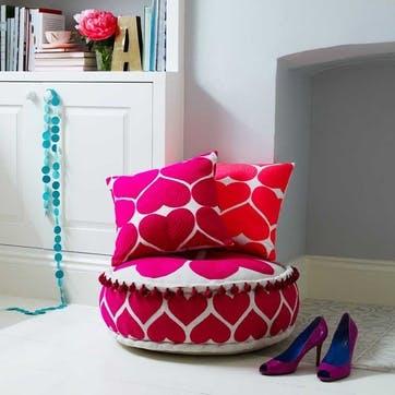 Embroidered Heart Cushion; Fuschia