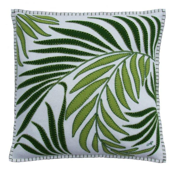Tropical Palm Cushion, Cream