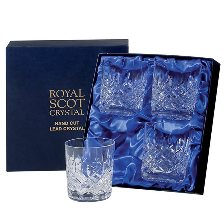 London Large Crystal Tumblers, Set of 4
