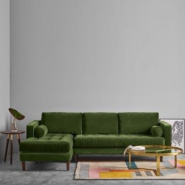 Scott 4 seater left hand facing sofa, H98 x W30 x D30cm, Grass Green