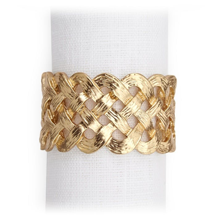 Braid Napkin Rings, Gold, Set of 4