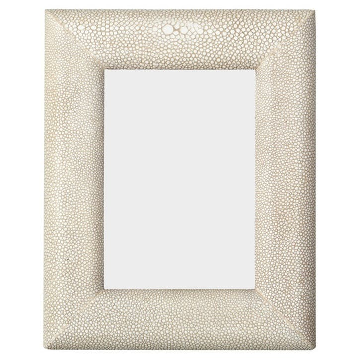 Faux Shagreen Curved Frame, Small Taupe