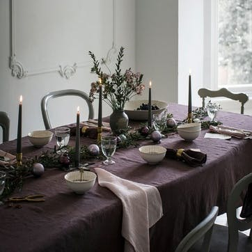 Mitered Hem Tablecloth, Aubergine, 140 x 180cms