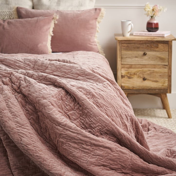 Quilted Velvet Bed Spread; Dusty Rose
