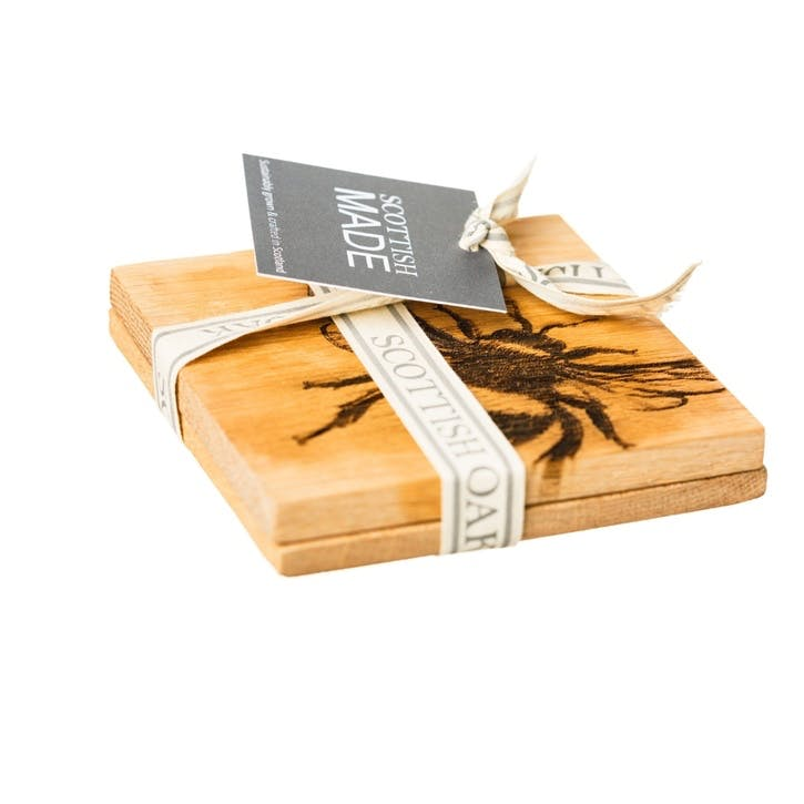 Bee Oak Coaster, Set of 2