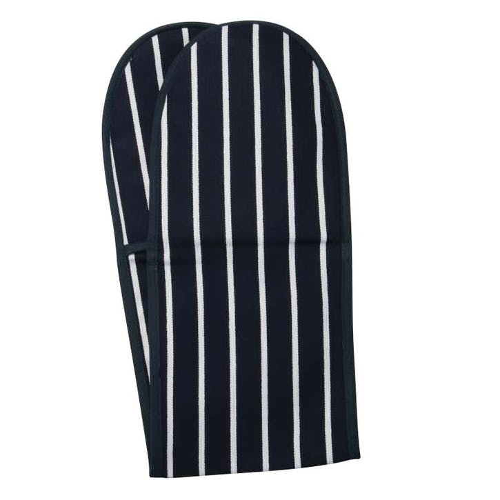 Butchers Stripe Double Oven Glove, Navy