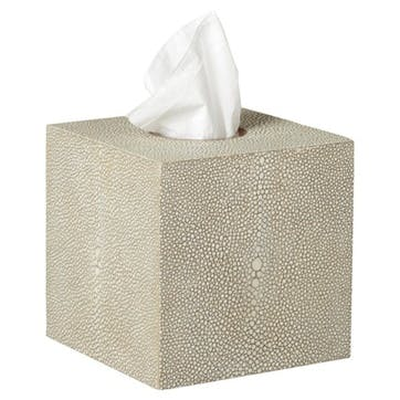 Faux Shagreen Boutique Tissue Box Holder, Taupe