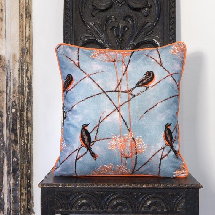 Little Finches Silk Cushion