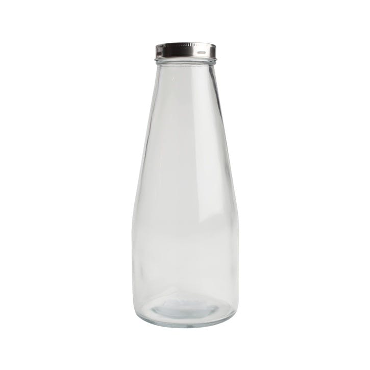 Tall Glass Bottle With Stainless Steel Lid