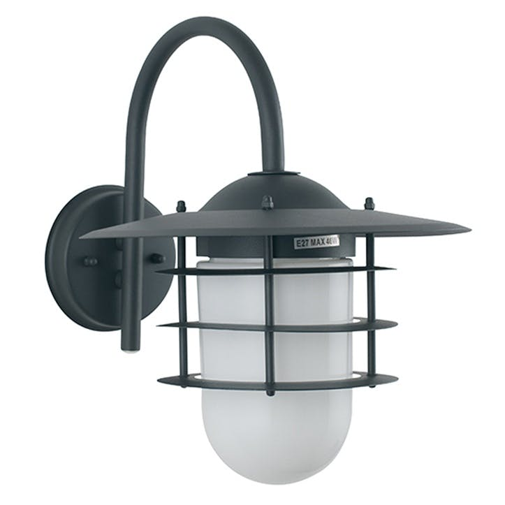 Hanging Outdoor Wall Light; Grey & Glass