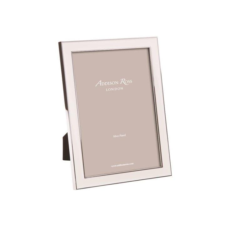 "Silver Plate Enamel Photo Frame - 4"" x 6""; White"