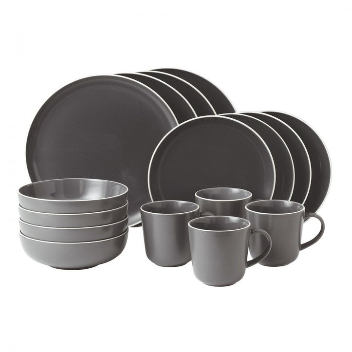 Gordon Ramsay Bread Street Dinner Set, Slate, 16 Pieces