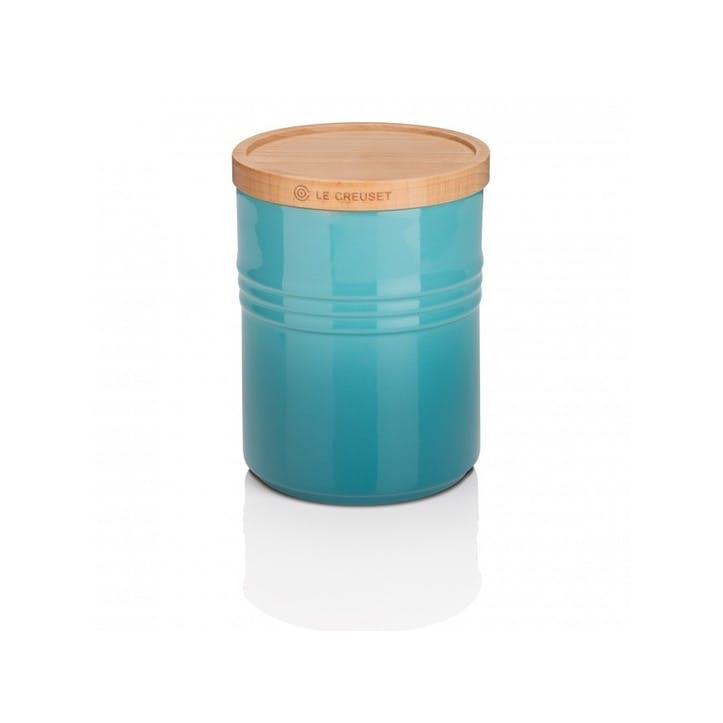 Stoneware Medium Storage Jar with Wooden Lid, Teal