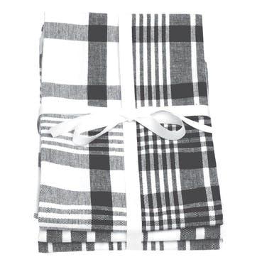 Extra Large Tea Towels, Set of 3, Slate Grey