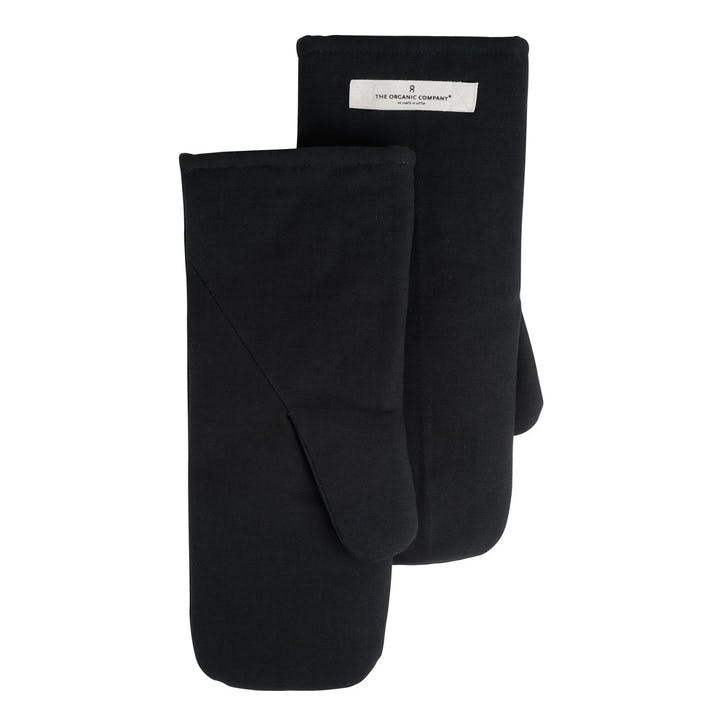 Canvas Oven Mitts, Large, Black