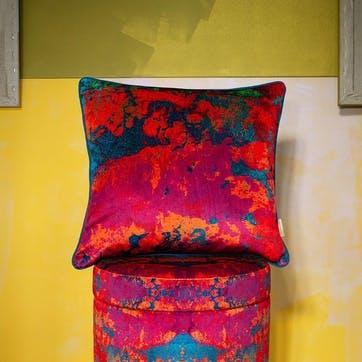 Paesaggio Scarlatto Abstract, Square Velvet Cushion