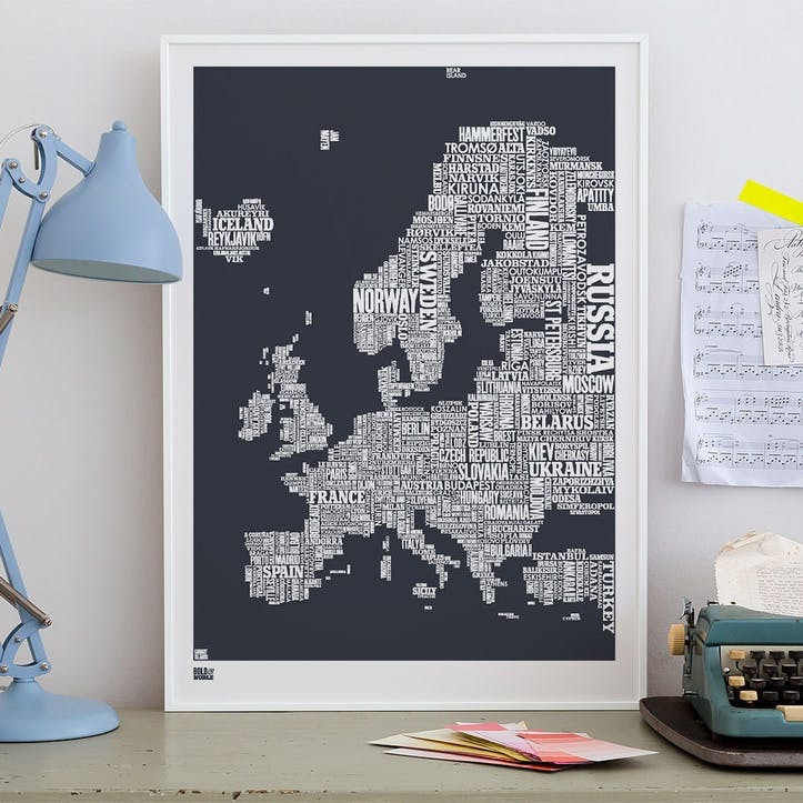 Type Map Screen Print Europe, 50cm x 70cm, Sheer Slate