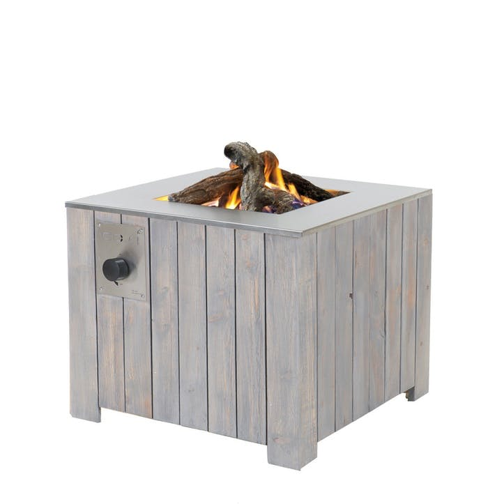 Cosicube Wooden Fire Pit, Grey Wash