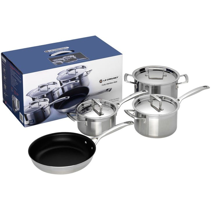 3-Ply Stainless Steel 4 Piece Saucepan Set