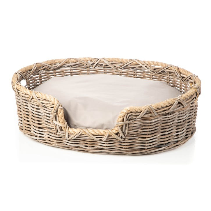 Rattan Oval Dog Basket, L