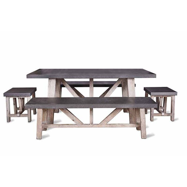 Chilson Table and Bench Set, Small, Cement Fibre