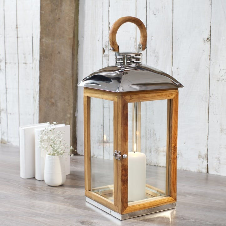 Hope Cove Teak Wood Candle Lantern, Medium