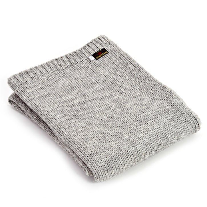Knitted Alpaca Throw; Grey