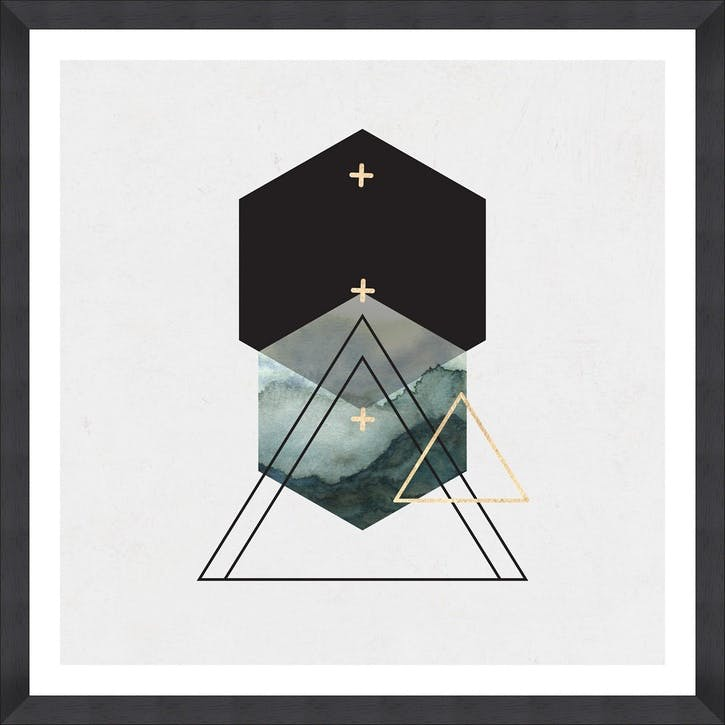 Triangles II, Black Framed Print,90 x 90cm