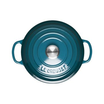 Signature Cast Iron Round Casserole, 20cm, DeepTeal