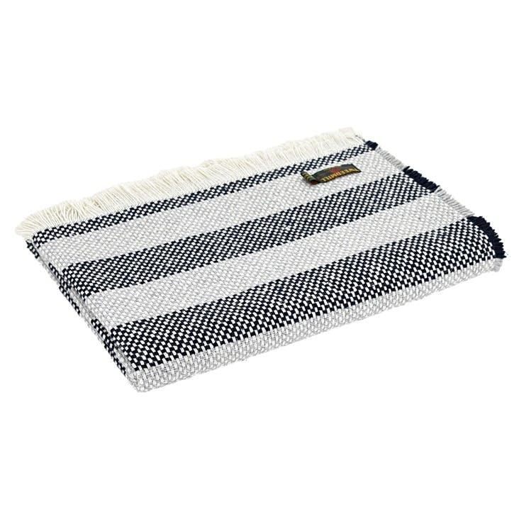 Recycled Crosshatch Stripe Rug; Navy & Silver
