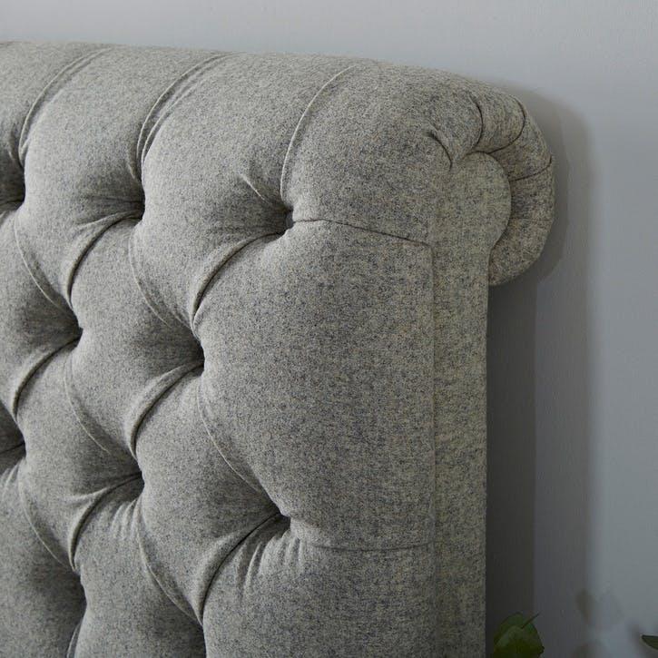 Aldwych Wool Scroll Bed, Double, Light Grey