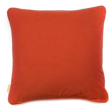 Orange Feathered Marble, Square Velvet Cushion