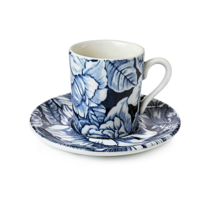 Ink Blue Hibiscus Espresso Cup and Saucer