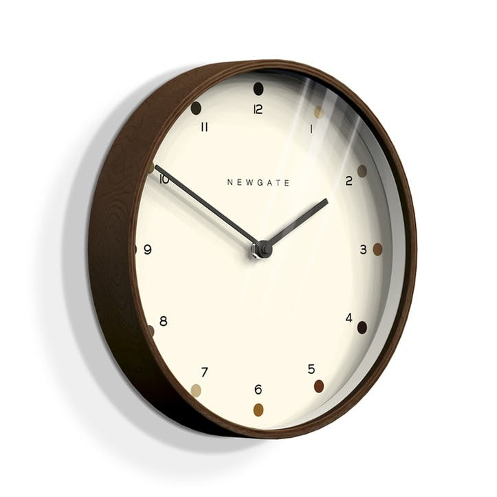 Mr Clarke Wall Clock, Dia. 40cm, Dark Plywood