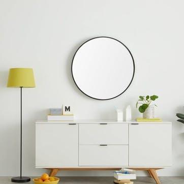 Bex round mirror, H87 x W60 x D60cm, Black