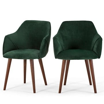 Lule Set of 2 Carver Dining Chairs; Pine Green Velvet