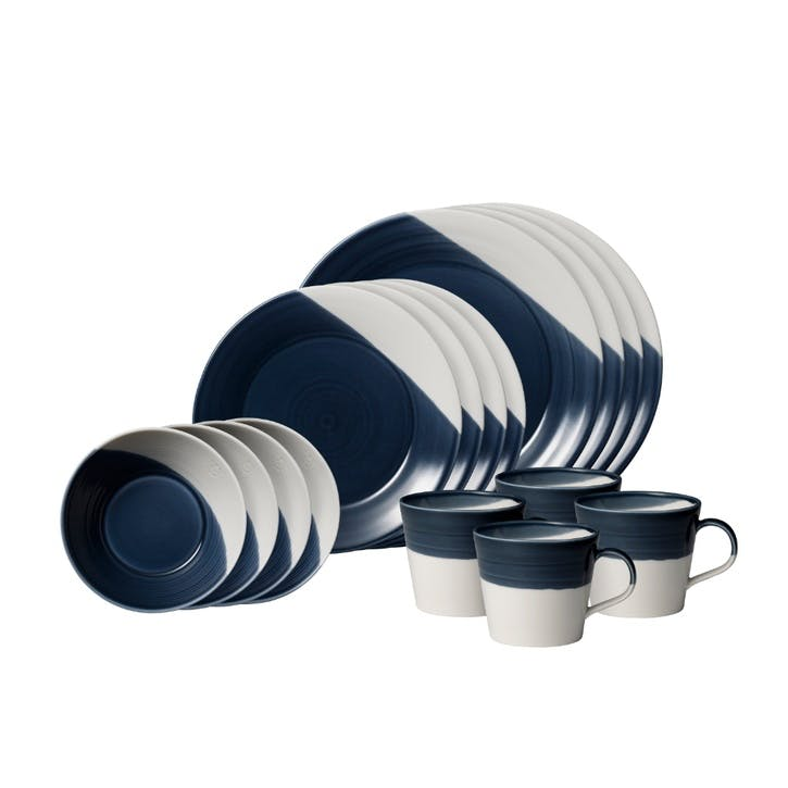 Bowls of Plenty Dinner Set, 16 Piece, Dark Blue