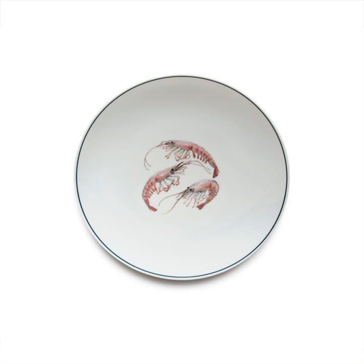 Seaflower Shrimp Side Plate, 23cm, Pink