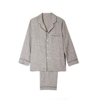 Men's Grey Linen Pyjama Set, Large