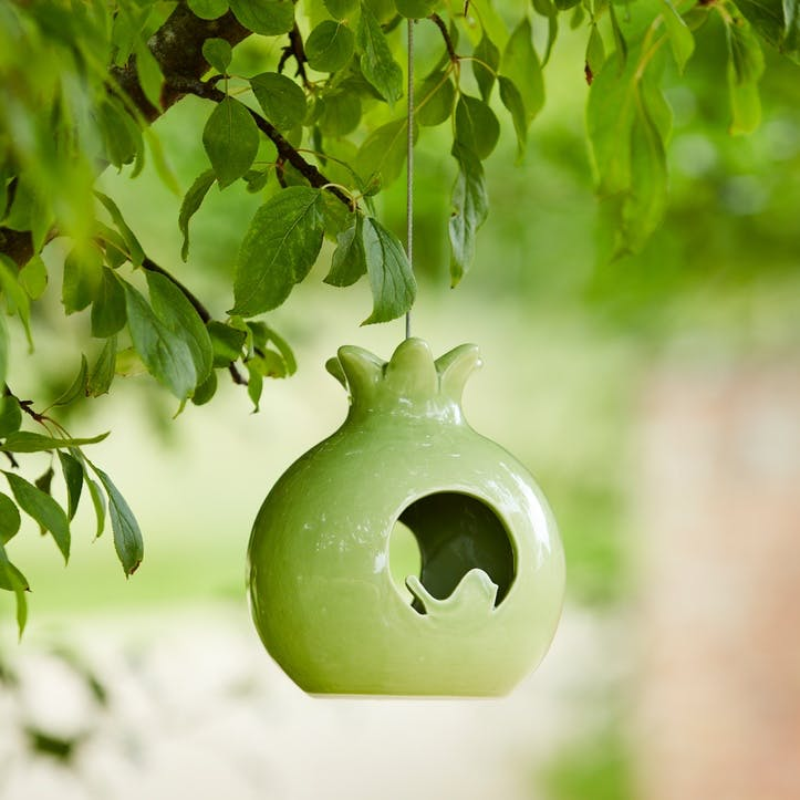 Ceramic Bird Feeder, Pomegranate