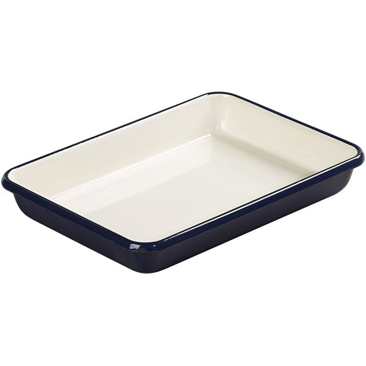 Indigo and Ivory Enamel Roaster, Medium