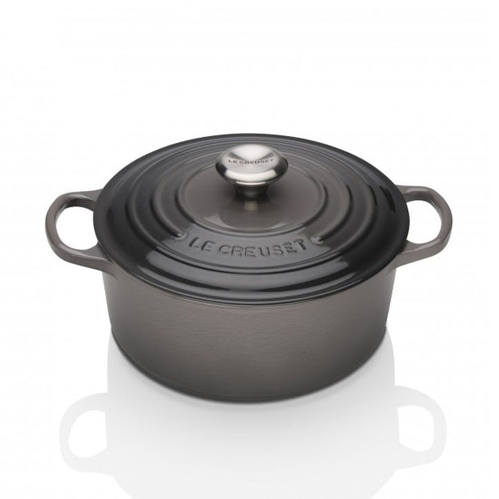 Cast Iron Round Casserole - 26cm; Satin Black