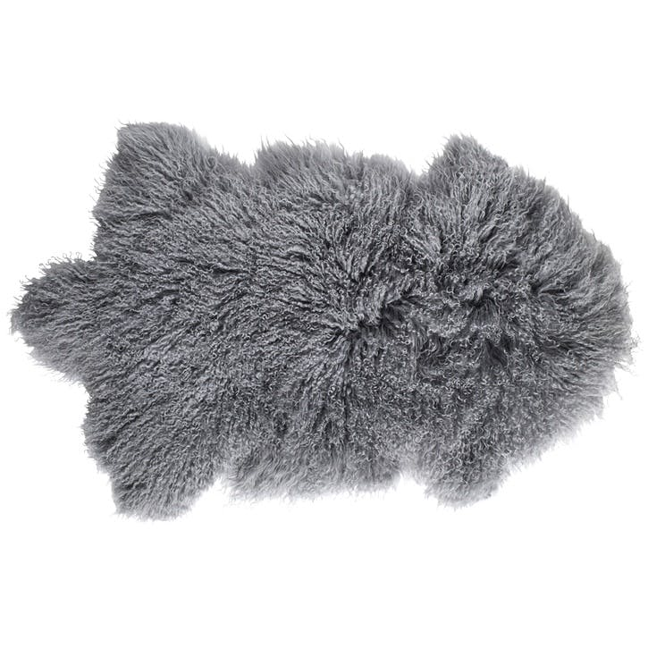 Tibetan Sheepskin Rug, Cool Grey