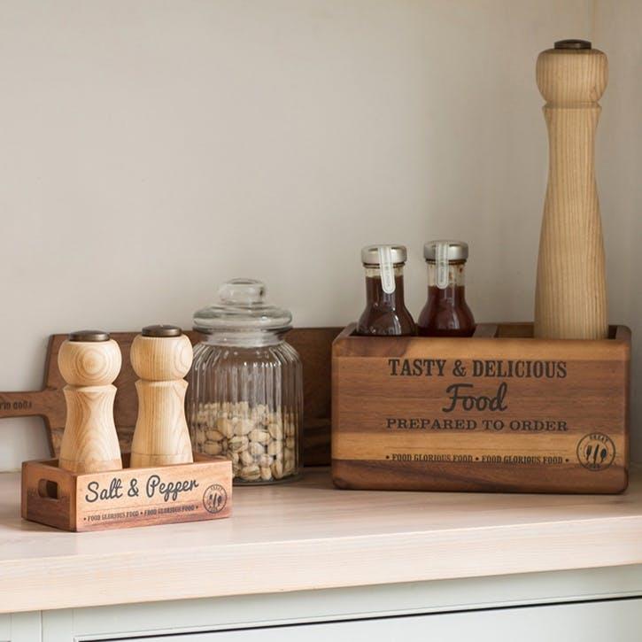'Food Glorious Food' Acacia Table Tidy With Graphics & Chalk Board, Medium