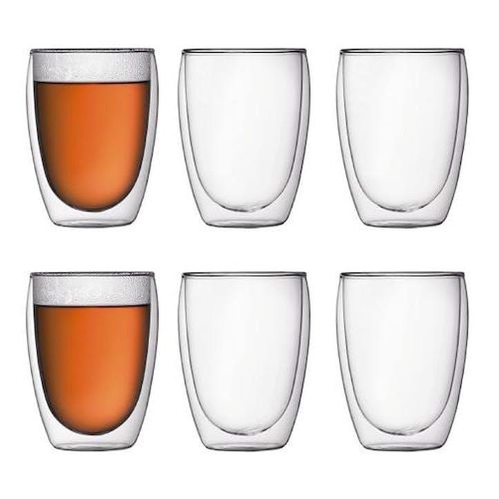 Pavina, Medium Double Wall Glasses, Set Of 6, 350ml, Transparent