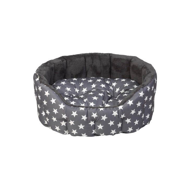 Star Print Reversible Oval Plush Pet Bed, M, Grey