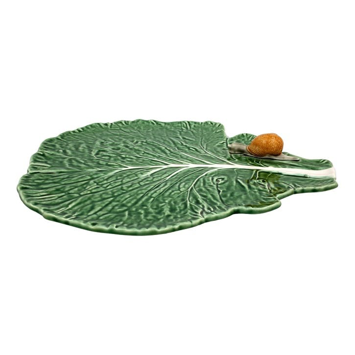 Cabbage Leaf Platter With Snail, 39cm, Green
