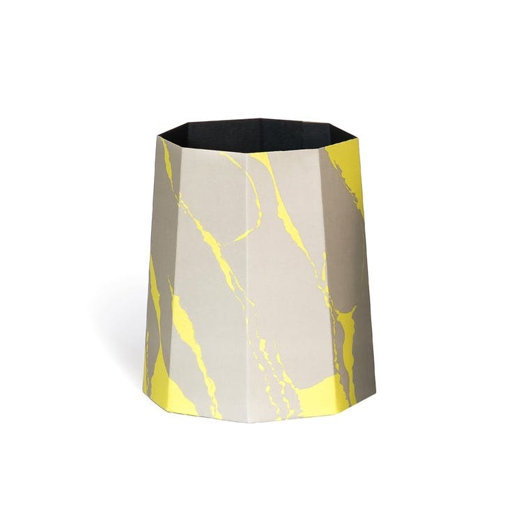 Chimney, Paperbin, H35 x D32cm, Yellow/Grey