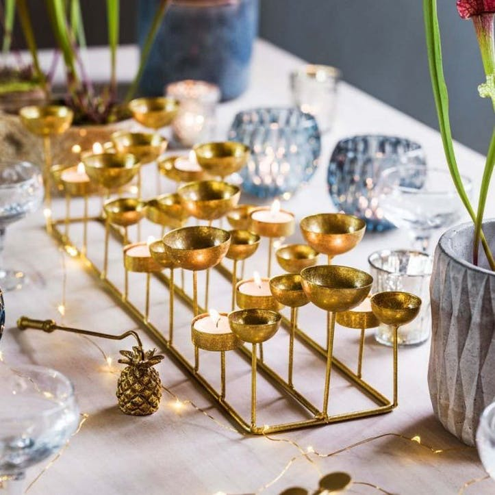 Multi Tea Light Holder, Gold